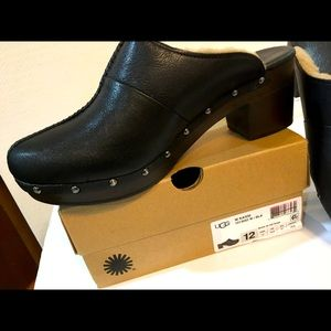 UGG kassi black leather clogs sz. 12 new with box
